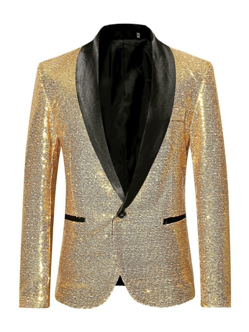 Sequin Patchwork Slim One Button Men's Blazer