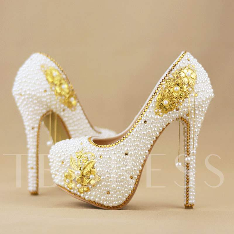 Round Toe Stiletto Heel Slip-On Beads Platform Wedding Shoes