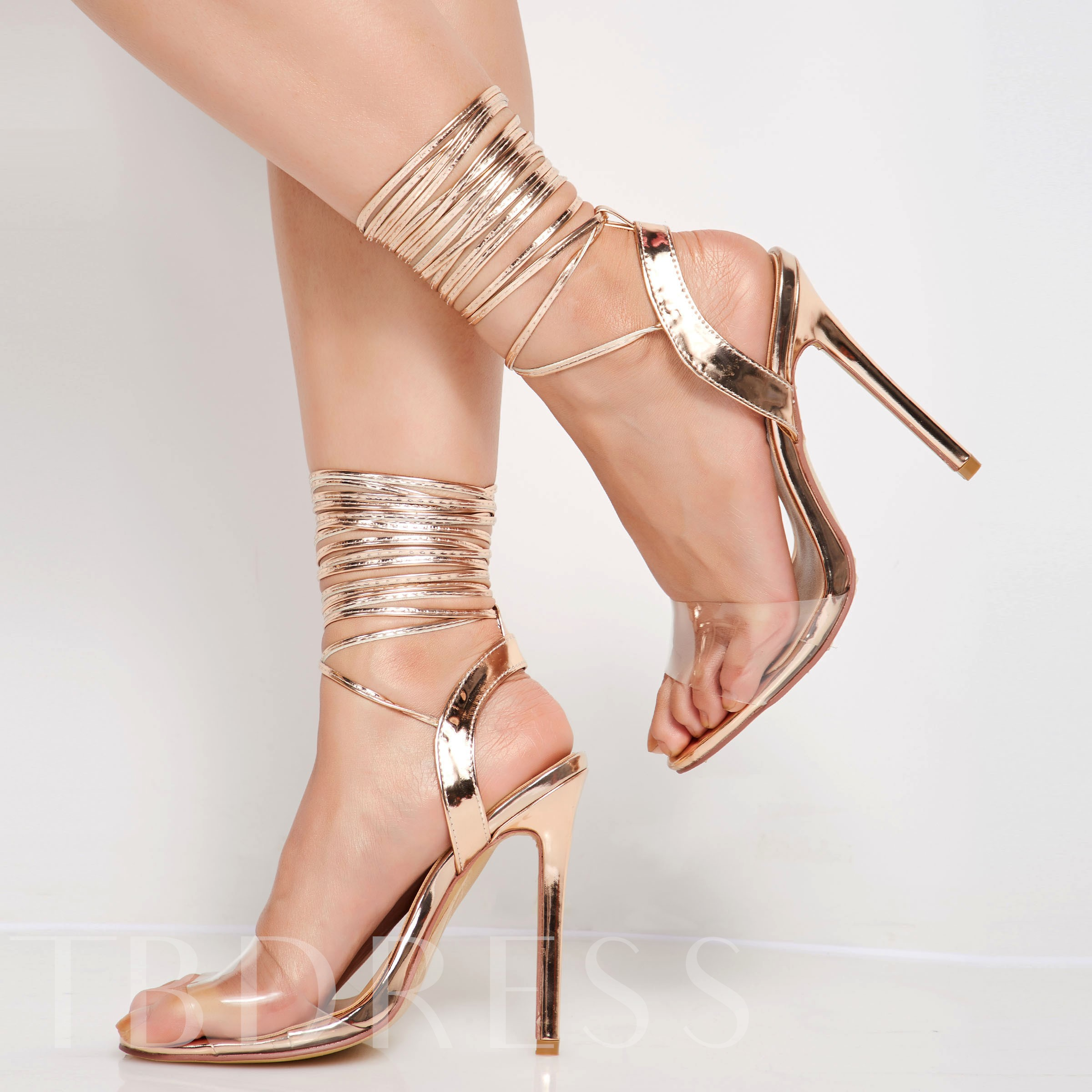 Lace-Up Open Toe Stiletto Heel Sandals