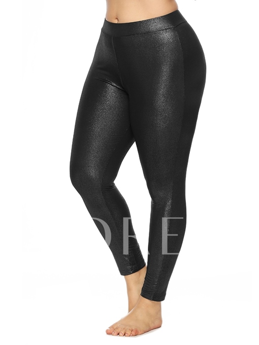 Plain Plus Size High-Waist Women's Leggings