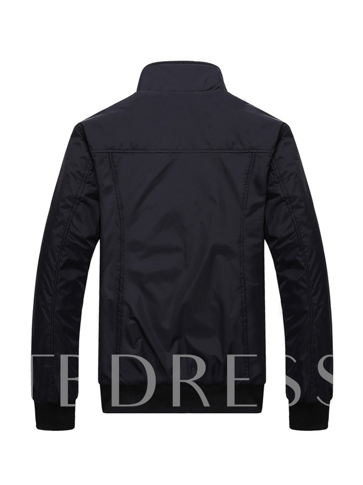 Stand Collar Plain Thin Casual Men's Jacket
