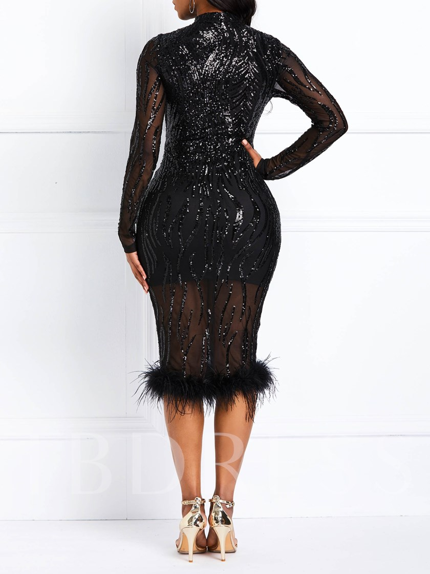 African Fashion Sequins Patchwork Bodycon Women's Long Sleeve Dress