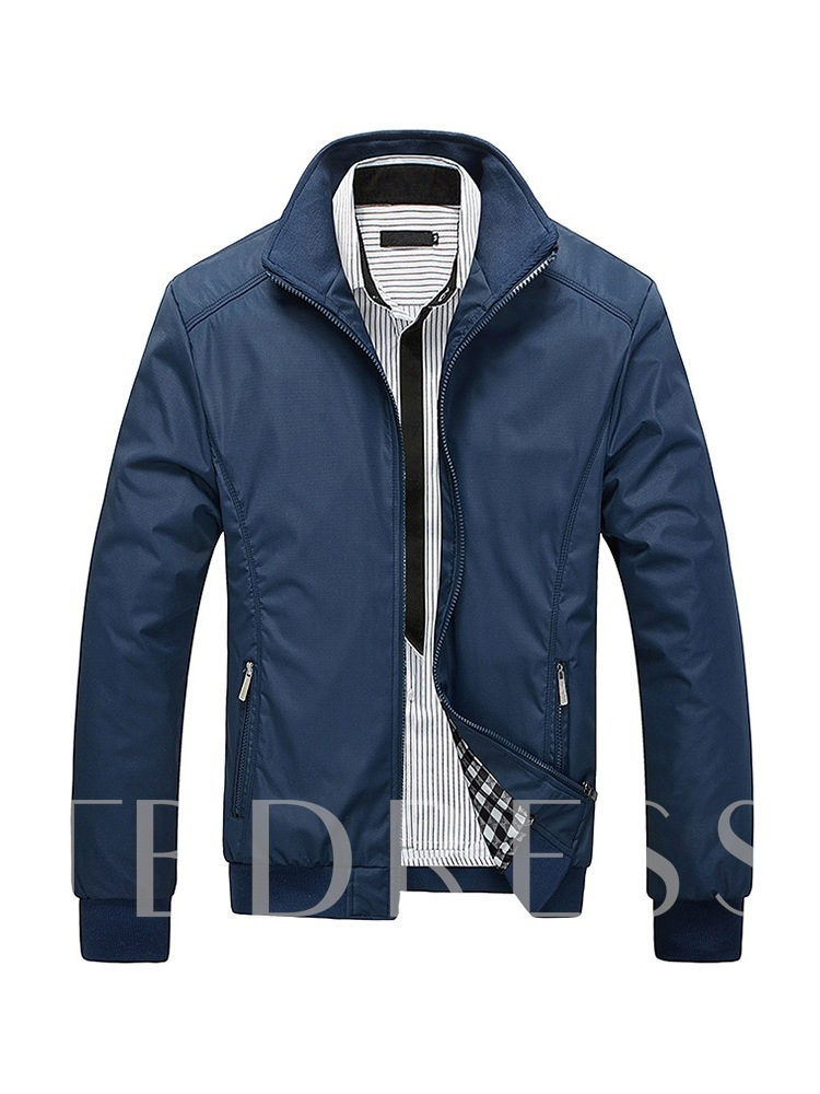 Plain Stand Collar Straight Casual Men's Jacket