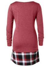 Color Block Plaid Double-Layer Plus Size Women's T-Shirt