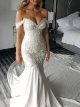 Appliques Pearls Off-The-Shoulder Mermaid Wedding Dress 2019