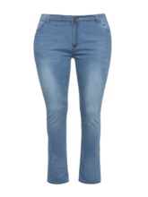 Plus Size Plain Slim Fit Women's Jeans
