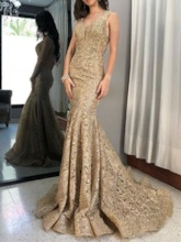 Straps Hollow Back Mermaid Lace Formal Evening Dress
