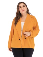 Plain Notched Lapel Double-Breasted Plus Size Women's Casual Blazer