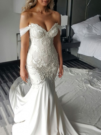 Appliques Pearls Off-The-Shoulder Mermaid Wedding Dress 2019 Appliques Pearls Off-The-Shoulder Mermaid Wedding Dress 2019