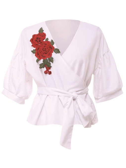 Floral Embroidery V-Neck Half Sleeve Plus Size Women's Blouse