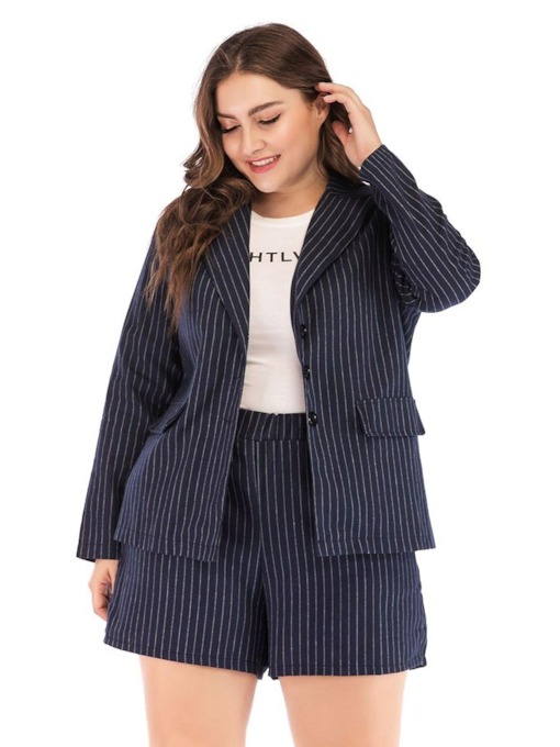 Wear to Work Plus Size Stripe Straight Women's Two Piece Sets