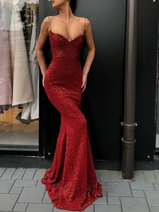 Spaghetti Straps Red Sequins Evening Dress