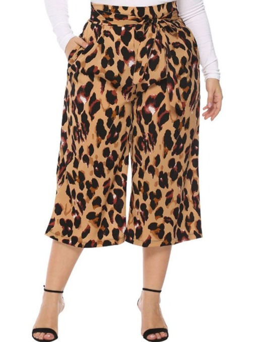 Plus Size Leopard Lace-Up Loose High-Waist Women's Casual Pants