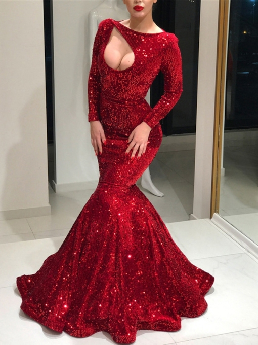 Long Sleeves Sequins Trumpet Floor-Length Wedding Party Dress