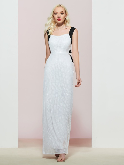 Floor-Length Straps Sequins Sleeveless Evening Dress