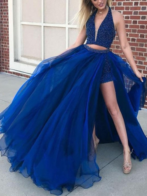 Halter Beading Split-Front Two Piece Prom Dress
