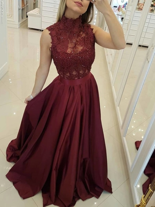 A-Line Floor-Length Lace High Neck Homecoming Dress