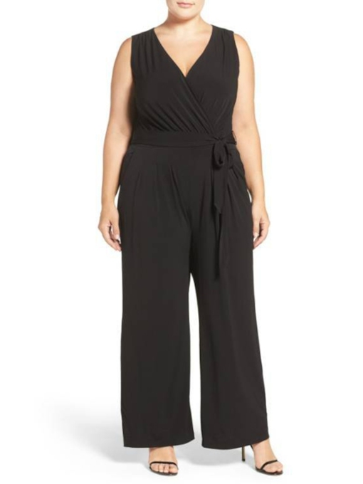 Plus Size Lace-Up Full Length Date Night Slim Women's Jumpsuit