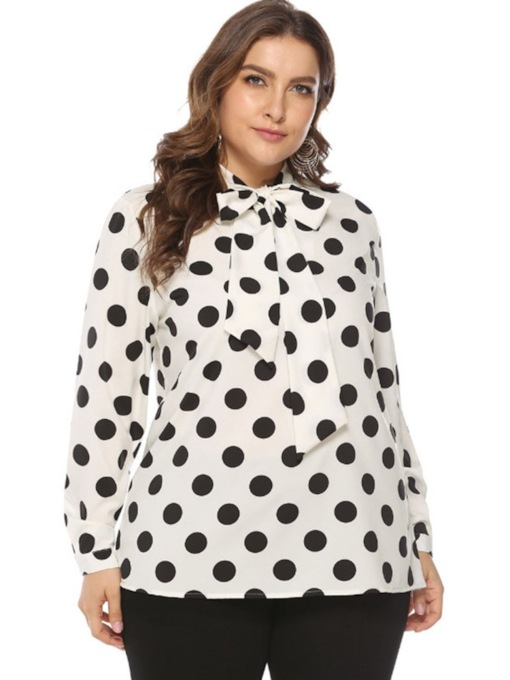 Scarf Polka Dots Mid-Length Plus Size Women's Blouse