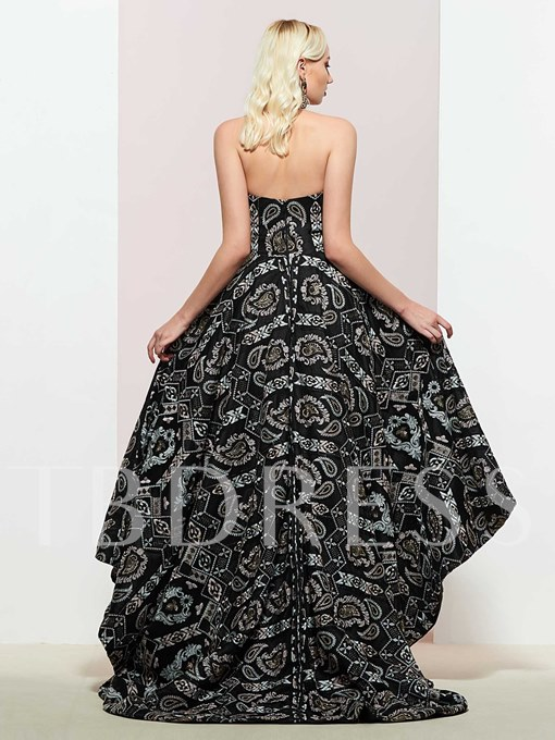 Lace A-Line Asymmetry Strapless Prom Dress