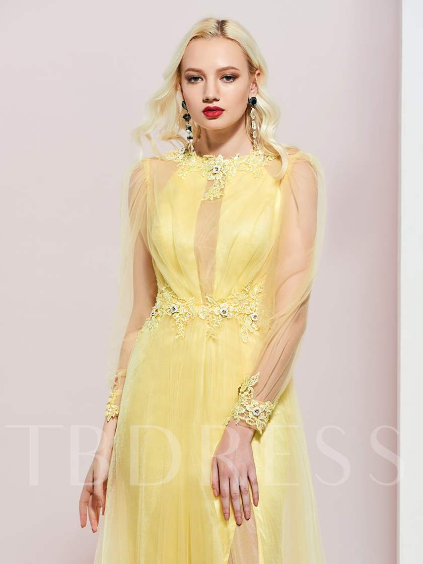 Jewel Neck Appliques Beading Long Sleeves Prom Dress