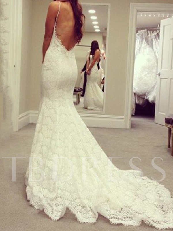 Backless Spaghetti Straps Mermaid Lace Wedding Dress