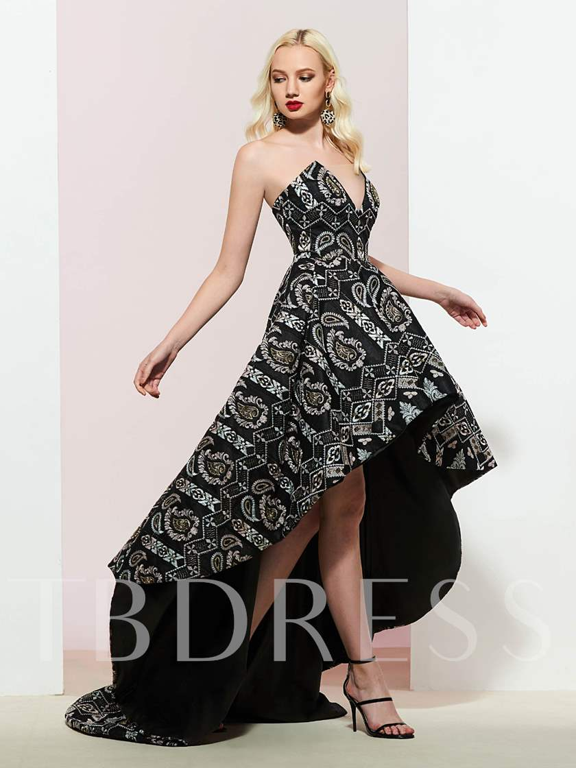 A-Line Asymmetry Embroidery Lace Prom Dress 2019