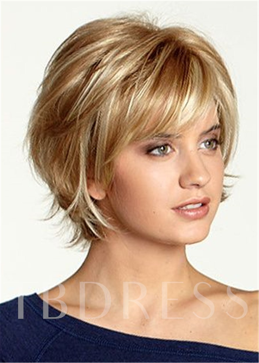 120% Density Women's Natural Wavy Synthetic Hair Wigs Capless Wigs 12Inch