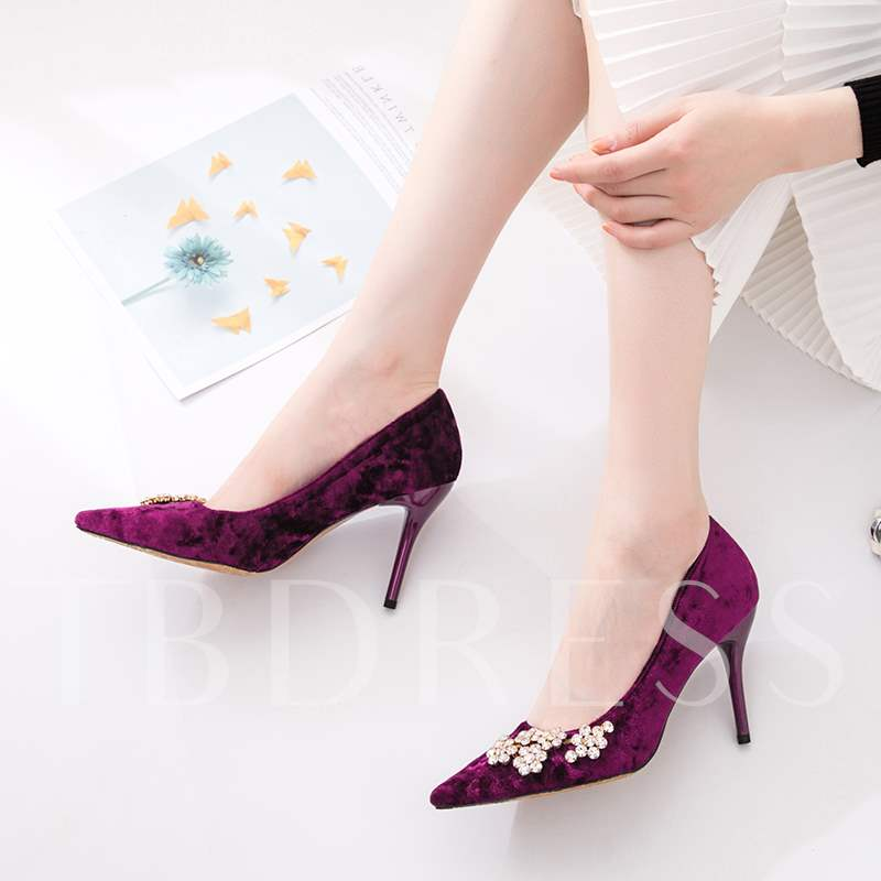 Rhinestone Slip-On Stiletto Heel Pointed Toe Dresss Pumps