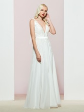 Floor-Length Sleeveless A-Line V-Neck Prom Dress