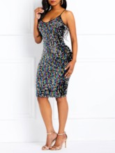 Plain Spaghetti Strap Sequins Women's Bodycon Dress