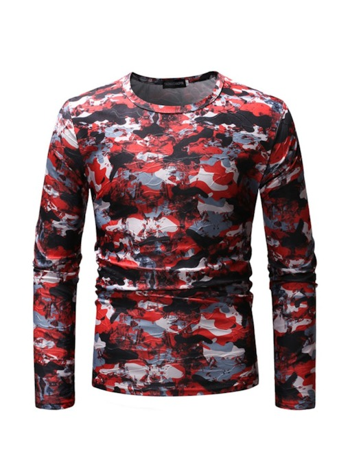 Print Camouflage Round Neck Casual Slim Men's T-shirt