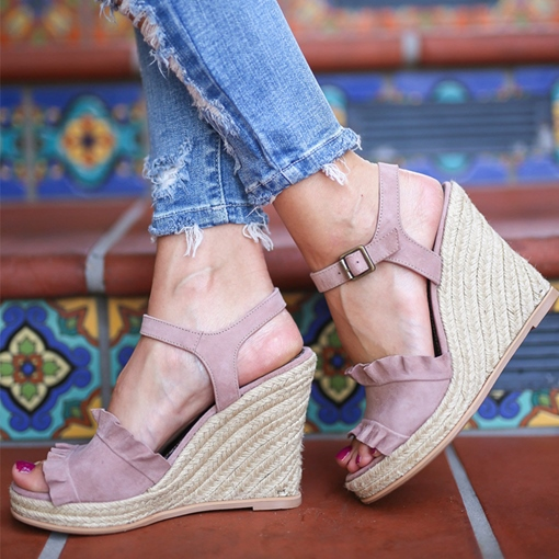 Peep Toe Buckle Wedge Heel Vintage Espadrille Sandals