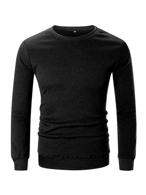 Pullover Plain Round Neck Men's Sweatshirt