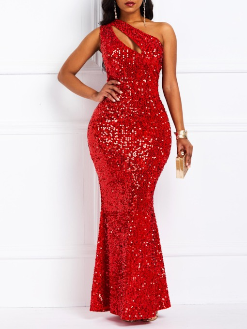 African Fashion Sleeveless Sequins Oblique Collar Mermaid Women's Maxi Dress