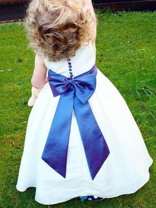 Round Neck Sashes Button Flower Girl Dress 2019