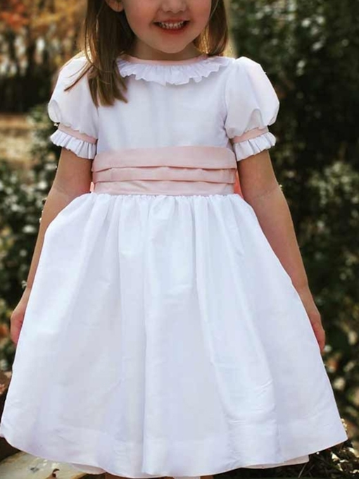 Short Sleeves Tea-Length Ruffles Flower Girl Dress 2019