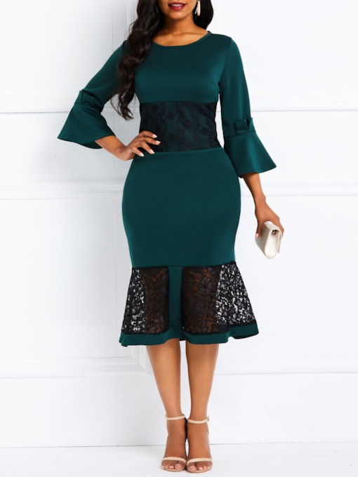 Lace Round Neck Three-Quarter Sleeve Women's Bodycon Dress