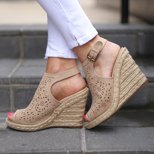Wedge Heel Peep Toe Buckle Vintage Espadrille Sandals