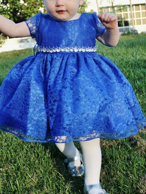 Beading Ball Gown Lace Knee-Length Flower Girl Dress 2019