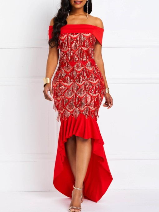 Asymmetric Off Shoulder Sequins Women's Maxi Dress