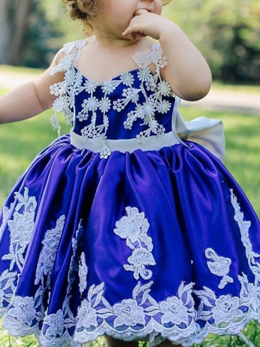 Ball Gown Spaghetti Straps Tea-Length Flower Girl Dress 2019