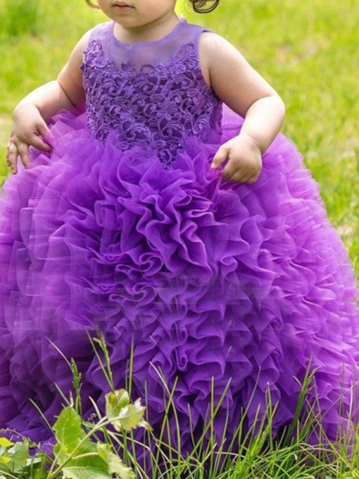 Ball Gown Cascading Ruffles Lace Flower Girl Dress 2019
