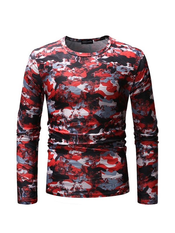 Camouflage | T-Shirt | Casual | Round | Print | Neck | Men