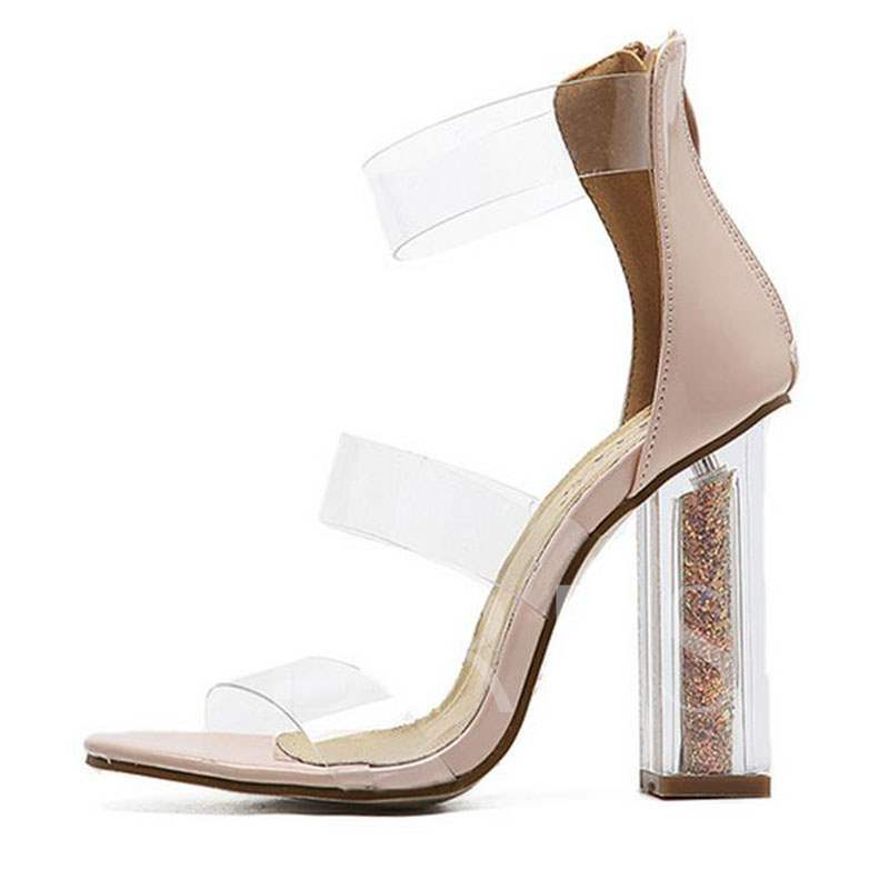 Heel Covering Open Toe Chunky Heel Zipper Sequin Women's Sandals