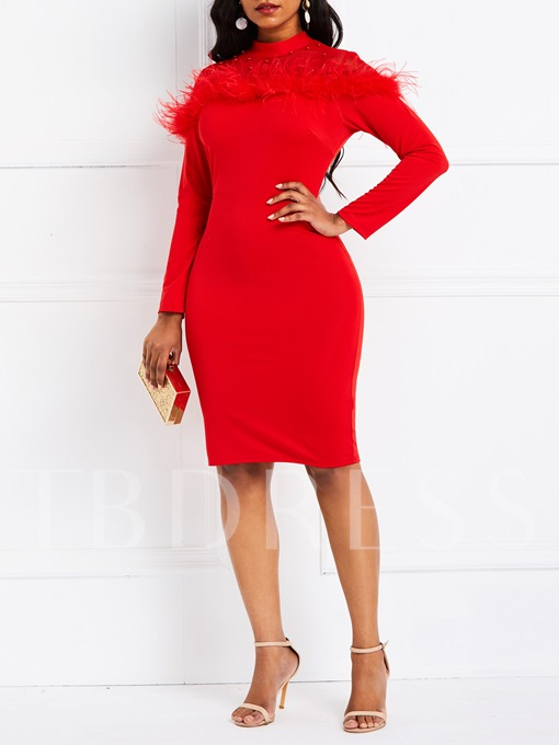Feather Patchwork Long Sleeve Women's Bodycon Dress