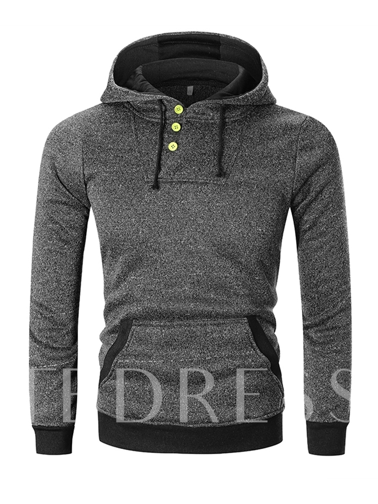 Button Pullover Slim Men's Hoodie