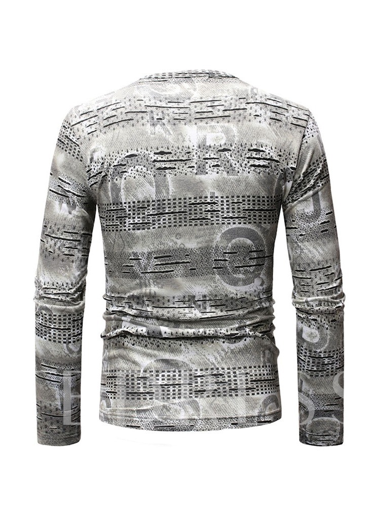 Round Neck Casual Letter Print Long Sleeve Men's T-shirt