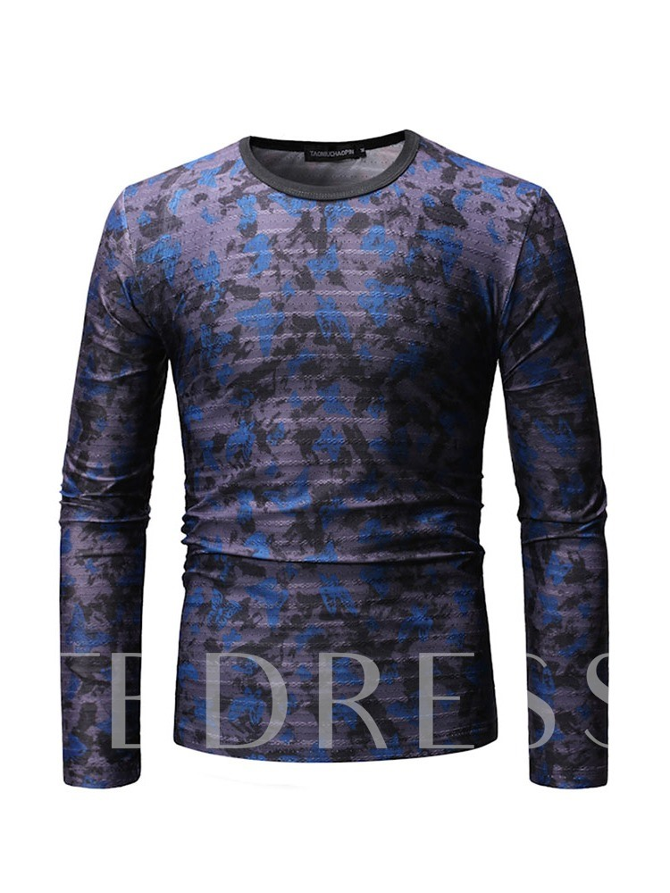 Casual Print Round Neck Animal Long Sleeve Men's T-shirt