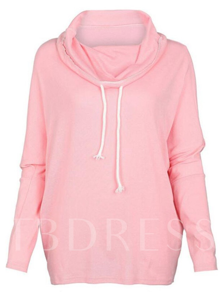 Heap Collar Drawstring Plain Women's Sweatshirt